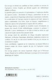 Agregation Externe D'Anglais Mode D'Emploi Capes/Agregation Anglais - 4ème de couverture - Format classique