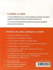 L'histoire des idées politiques en qcm - 4ème de couverture - Format classique