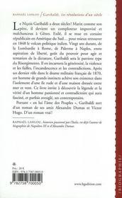 Garibaldi ; les révolutions d'un siècle - 4ème de couverture - Format classique