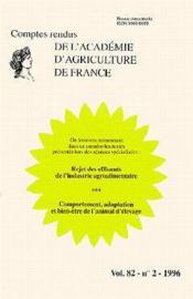 Rejet des effluents de l'industrie agroalimentaire ; comportement adaptation et bien etre de l'animal - Couverture - Format classique