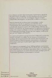 Les Relations Sociales Dans L'Entreprise ; Etat De La Recherche En France Et En Rfa - 4ème de couverture - Format classique