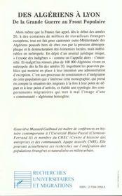 Des Algeriens A Lyon - 4ème de couverture - Format classique