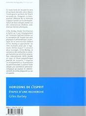 Horizons De L'Esprit - 4ème de couverture - Format classique