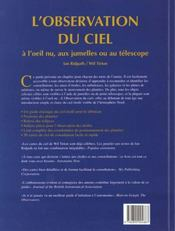 L'observation du ciel ; à l'oeil nu, aux jumelles ou au téléscope (2e édition) - 4ème de couverture - Format classique