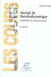 Abrege de thermodynamique: principes&applications - Intérieur - Format classique