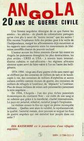 Angola, 20 Ans De Guerre Civile - 4ème de couverture - Format classique