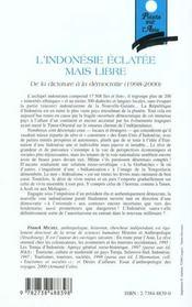 L'Indonesie Eclatee Mais Libre ; De La Dictature A La Democratie 1998-2000 - 4ème de couverture - Format classique
