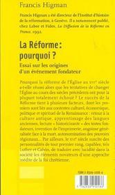 La Reforme: Pourquoi ? - 4ème de couverture - Format classique
