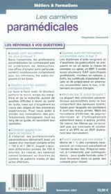 Metiers & Formation. Les Carrieres Paramedicales - 4ème de couverture - Format classique