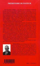 Prehistoire De Pasteur - 4ème de couverture - Format classique
