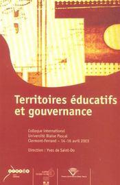 Territoires Educatifs Et Gouvernance. Colloque International, Univers Ite Blaise Pascal, Clermont-Fe - Intérieur - Format classique