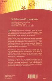 Territoires Educatifs Et Gouvernance. Colloque International, Univers Ite Blaise Pascal, Clermont-Fe - 4ème de couverture - Format classique