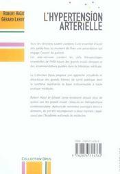 L'Hypertension Arterielle - 4ème de couverture - Format classique