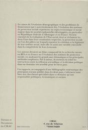 L'Evolution Des Systemes De Protection Sociale ; Etat De La Recherche En France Et En Rfa - 4ème de couverture - Format classique