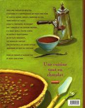 Une cuisine tout en chocolat ; 60 recettes et histoires autour du monde en chocolat - 4ème de couverture - Format classique