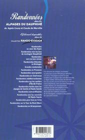 Randonnees Dans Les Alpages Du Dauphine - 4ème de couverture - Format classique