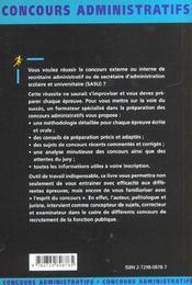 Secretaire Administratif Et Sasu Categorie B Concours Externes Et Internes Fonction Publique D'Etat - 4ème de couverture - Format classique