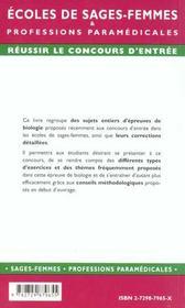 Epreuves Corrigees Et Commentees De Biologie Ecoles De Sages-Femmes Et Paramedicales Concours Entree - 4ème de couverture - Format classique