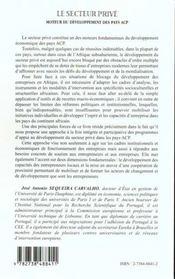 Le Secteur Prive ; Moteur Du Developpement Des Pays Acp ; Une Approche Integree Et Participative - 4ème de couverture - Format classique