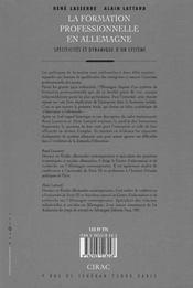 La Formation Professionnelle En Allemagne ; Specificites Et Dynamique D'Un Systeme - 4ème de couverture - Format classique