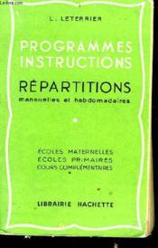 Programme, Instruction, Repartitions - Mensuelles Et Hebdomadaires - Couverture - Format classique