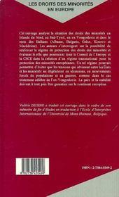 Les Droits Des Minorites En Europe ; Vers Un Regime Transnational - 4ème de couverture - Format classique