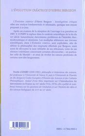 L'Evolution Creatrice D'Henri Bergson ; Investigations Critiques - 4ème de couverture - Format classique