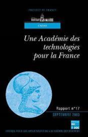Une Academie Des Technologies Pour La France (Rapport Cadas N.17) - Couverture - Format classique