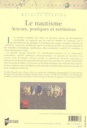 Nautisme. Acteurs Pratiques Territoires - 4ème de couverture - Format classique