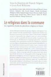 Le Religieux Dans La Commune - 4ème de couverture - Format classique