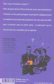 Paris quiz - 4ème de couverture - Format classique