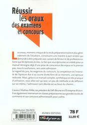 Reussir Les Oraux Des Examens Et Concours - 4ème de couverture - Format classique