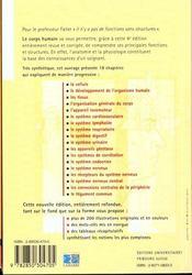 Le Corps Humain Introduction La Connaissance De Sa Structure Et De Ses Fonctions 4eme Edition - 4ème de couverture - Format classique