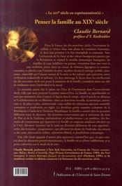 Penser la famille au XIX siècle (1789-1870) - 4ème de couverture - Format classique