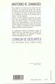 L'Erreur De Descartes - 4ème de couverture - Format classique