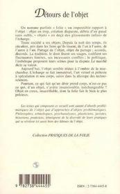 Detours De L'Objet - 4ème de couverture - Format classique