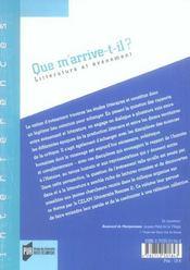 Que M Arrive T Il. Litterature Et Evenement - 4ème de couverture - Format classique