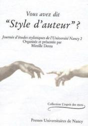 Vous Avez Dit Style D'Auteur ? - Couverture - Format classique