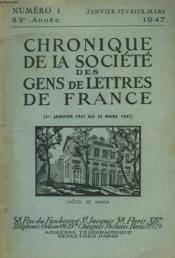 CHRONIQUE DE LA SOCIETE DES GENS DE LETTRES DE FRANCE N°1, 82e ANNEE ( 1er JANVIER 1947 AU 31 MARS 1947) - Couverture - Format classique