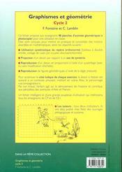 Graphismes et géometrie ; cycle 2 ; fiches à photocopier - 4ème de couverture - Format classique