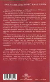 L'Indicateur De Developpement Humain Du Pnud - 4ème de couverture - Format classique