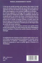 Animaux, Environnement Et Societes - 4ème de couverture - Format classique
