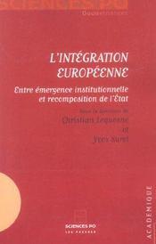 L'intégration européenne ; entre émergence institutionnelle et recomposition de l'état - Intérieur - Format classique