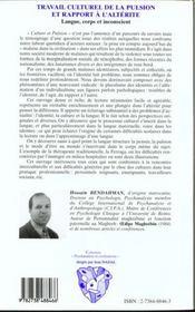 Travail Culturel De La Pulsion Et Rapport A L'Alterite ; Langue Corps Et Inconscient - 4ème de couverture - Format classique