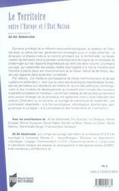 Territoire, entre l europe et l etat nation - 4ème de couverture - Format classique