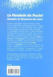 La parabole du poulet ; grandeur et decadence des mots - 4ème de couverture - Format classique
