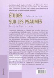Etudes Sur Les Psaumes - 4ème de couverture - Format classique