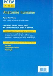 Anatomie Humaine Pcem Intensif Pour Le Concours Cours Complet Et Concis 500 Ques - 4ème de couverture - Format classique