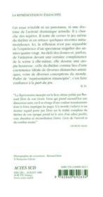 La Representation Emancipee - Le Temps Du Theatre - 4ème de couverture - Format classique
