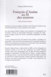 Francois d'Assise au fil des sources - 4ème de couverture - Format classique